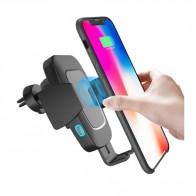 Автоматична стойка за смартфон с безжично бързо зарядно за автомобил