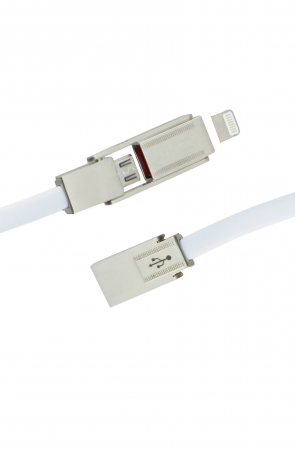 Luxo Sword Micro+Lightning USB Cable-White