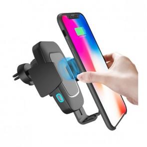 Автоматична поставка за смартфон с безжично бързо зарядно за автомобил